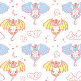 Cartoon pattern with monsters angel and yo. Stock Photos