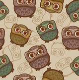 Cartoon pattern with owls. Royalty Free Stock Photo