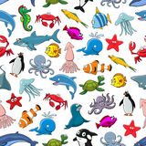 Cartoon pattern of sea fish and ocean animals Stock Image