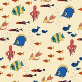 Cartoon pattern with striped fishes different forms Stock Images