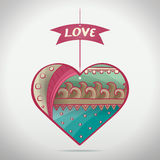 Cartoon Patterned Love Heart Stock Photo