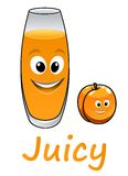 Cartoon peach or apricot with juice Royalty Free Stock Images