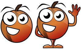 Cartoon peaches isolated Royalty Free Stock Image