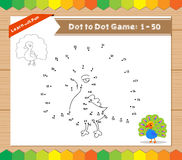 Cartoon Peacock. Dot to dot educational game for kids Royalty Free Stock Image