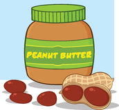 Cartoon Peanut Butter Jar With Peanuts Royalty Free Stock Photography