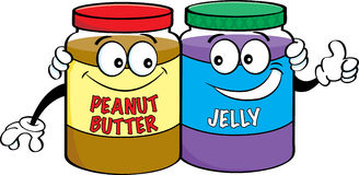 Cartoon peanut butter and jelly jars.