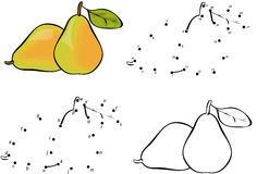 Cartoon pear. Vector illustration. Coloring and dot to dot game Stock Photography