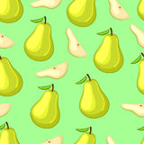 Cartoon pears whole and slices on a green background. Stock Photography