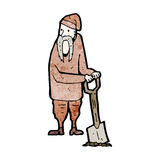 Cartoon peasant digging Royalty Free Stock Photography