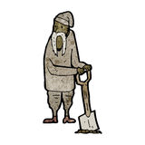 Cartoon peasant digging Royalty Free Stock Photos
