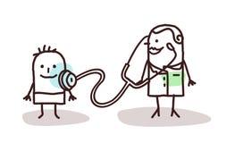Cartoon pediatrician with child Stock Photo