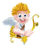 Cartoon Peeking Cupid Angel Stock Images