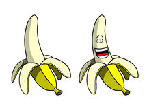 Cartoon Peeled Banana and Smiling Peeled Banana Royalty Free Stock Photos