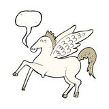 Cartoon pegasus with speech bubble Stock Image