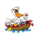 Cartoon pelican with captain's hat Royalty Free Stock Images