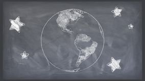 Cartoon pen drawn planet earth globe spin on chalkboard background seamless endless loop animation - new quality unique. Drawn planet earth globe spin on white stock video