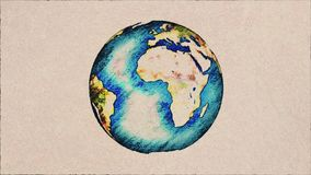 Cartoon pen drawn planet earth globe spin on white old paper background seamless endless loop animation background - new. Drawn planet earth globe spin on white stock video
