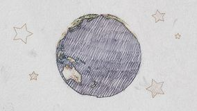 Cartoon pen drawn planet earth globe spin on white old paper background seamless endless loop animation - new quality. Drawn planet earth globe spin on white old stock video footage