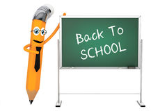 Cartoon Pencil Character with Back To School Blackboard. 3d Rend Stock Images