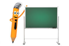 Cartoon Pencil Character with Blank Blackboard. 3d Rendering Stock Photos