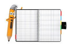 Cartoon Pencil Character near Personal Diary or Organiser Book w Stock Photos