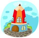 Cartoon pencil house stock illustration