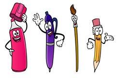 Cartoon pencil, marker, brush, pen Stock Photos