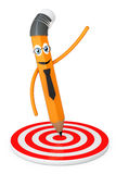 Cartoon Pencil Pointed to Center of Target. 3d Rendering Royalty Free Stock Image