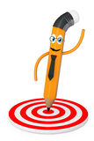 Cartoon Pencil Pointed to Center of Target. 3d Rendering Stock Photos