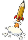 Cartoon pencil rocket Stock Images
