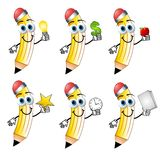 Cartoon Pencils Holding Objects stock illustration