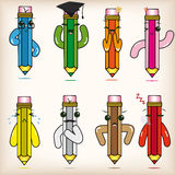 Cartoon pencils Royalty Free Stock Images