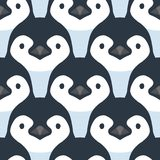 Cute penguin babies. Vector seamless pattern. Cartoon penguin babies in shades of blue color. Repeating elements Royalty Free Stock Photography
