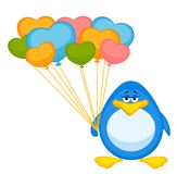 Cartoon penguin with balloon Royalty Free Stock Photography