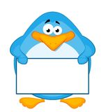 cartoon penguin with baner Stock Photo