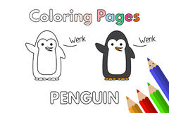 Cartoon Penguin Coloring Book. Cartoon penguin illustration. Vector coloring book pages for children royalty free illustration