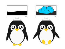 Cartoon penguin and computer cloud illustration Royalty Free Stock Photos