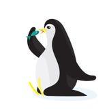Cartoon penguin eating the fish. Flat vector, isolated on white background. Cartoon penguin eating the fish. Flat vector illustration, isolated on white royalty free illustration