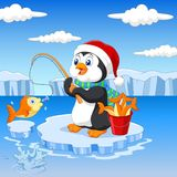 Cartoon penguin fishing on the ice Royalty Free Stock Photos