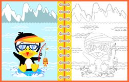 Cartoon of penguin fishing time, coloring page or book. Vector cartoon illustration, no mesh, eps 10 vector illustration