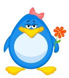 cartoon penguin with flower stock illustration