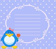Cartoon penguin with flower Stock Images