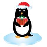 cartoon penguin with gift stock illustration