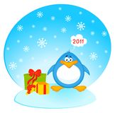 Cartoon penguin with gifts Stock Photography