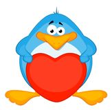 cartoon penguin with heart Stock Photography