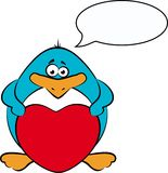 Cartoon penguin with heart Stock Photo