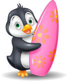 Cartoon Penguin holding surfing board Stock Photo