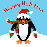 Cartoon penguin Holiday card Royalty Free Stock Photo