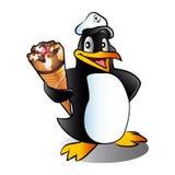 Cartoon penguin with ice cream. Royalty Free Stock Photography
