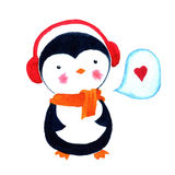 Cartoon penguin love. Watercolor illustration isolated on white background. Stock Photography